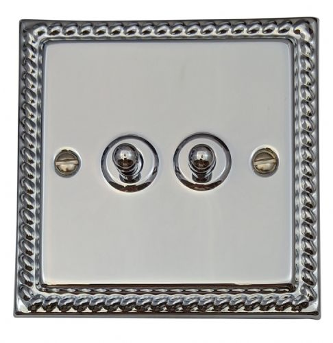 G&H MC282 Monarch Roped Polished Chrome 2 Gang 1 or 2 Way Toggle Light Switch